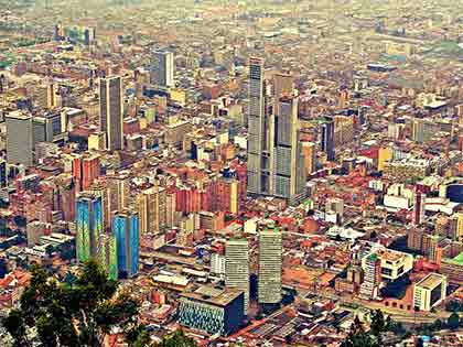 An aerial shot of Bogota, Colombia